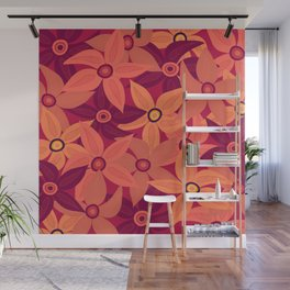 Large retro flowers - living coral Wall Mural