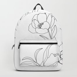 Minimal Line Art Woman with Peonies Backpack