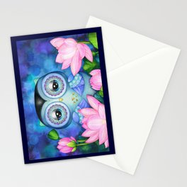 Owl in Lotus Pond Stationery Cards