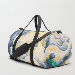 Snowboader in a 'Pillow Paradise' Duffle Bag