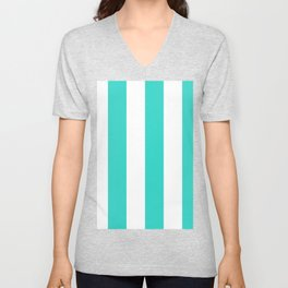 Wide Vertical Stripes - White and Turquoise Unisex V-Neck