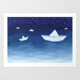 Paper boats illustration Art Print