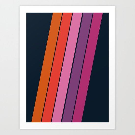 Groovy - retro throwback 70s 1970s stripes beach 70's vibes minimal art Art Print