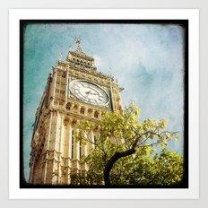 Clock Tower behind tree - London Art Print
