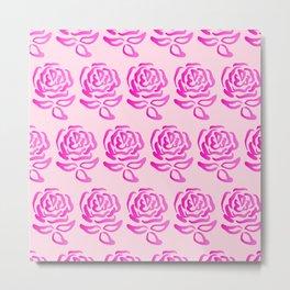 Pink Roses Design Metal Print