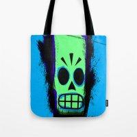 grim fandango Tote Bags featuring Manny Calavera, Blue version (Grim Fandango) by acefecoo
