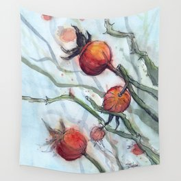 Rose Hips Abstract Watercolor Nature Wall Tapestry