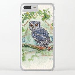 Orange eyed owl Clear iPhone Case