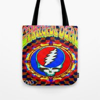grateful dead Tote Bags featuring Grateful Dead #8 Optical Illusion Psychedelic Design by CAP Artwork & Design