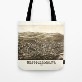 Aerial View of Brattleboro, Vermont (1886) Tote Bag