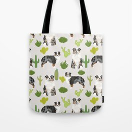 Australian Shepherd owners dog breed cute herding dogs aussie dogs animal pet portrait cactus Tote Bag