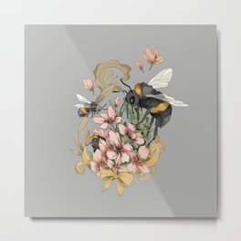 Bumblebees with florals and ribbons Metal Print