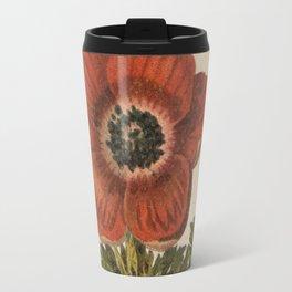 1800s Encyclopedia Lithograph of Anemone Flower Travel Mug