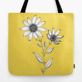 Wildflower line drawing | Botanical Art Tote Bag