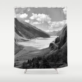 Gepatsch Reservoir Kaunertal Glacier Austria Alps Landscape black white Shower Curtain
