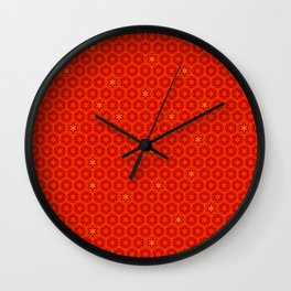 Red Orange Imperial Cogs Wall Clock