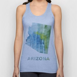 Arizona map outline Blue green colored wash drawing Unisex Tank Top