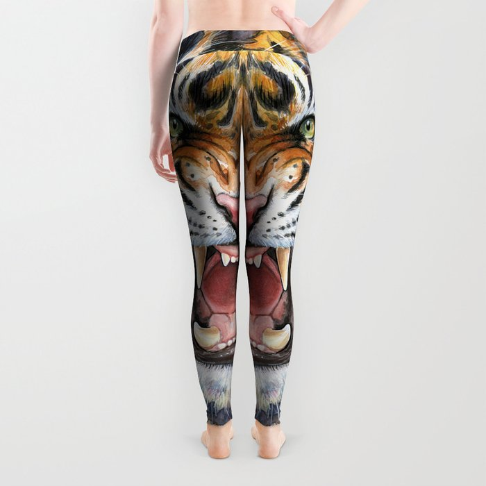 Tiger Watercolor Animal Painting Leggings