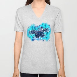 butterfly beautiful strong free splatter watercolor blue negative Unisex V-Neck