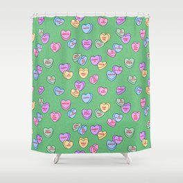 Feminist Valentine Candy Hearts in Green, Kween Shower Curtain