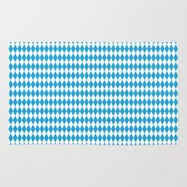 Oktoberfest Bavarian Blue and White Medium Diagonal Diamond Pattern Rug