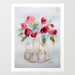 Roses (watercolor and ink) Art Print