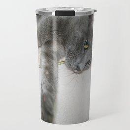 Russian Grey Cross Tabby Cat  Travel Mug