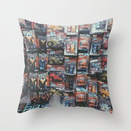 robot toy and car toy at the toy store pattern background Throw Pillow