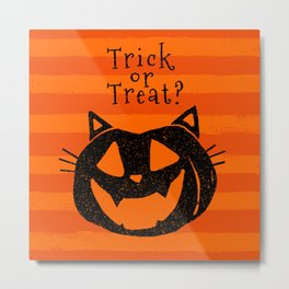 Trick or Treat? Halloween cat lady Metal Print