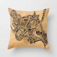 labyrinth Throw Pillows featuring Labyrinth by DuckyB