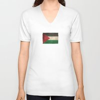 palestine V-neck T-shirts featuring Old and Worn Distressed Vintage Flag of Palestine by Jeff Bartels
