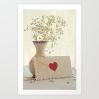 letter Art Prints featuring Love Letter by Colleen Farrell