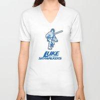nfl V-neck T-shirts featuring Detroit Luke Skywalkers - NFL by Steven Klock