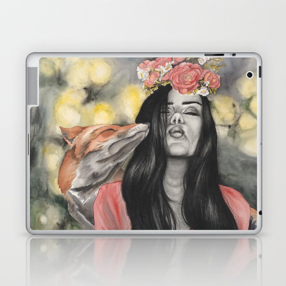 Fox & Flowers Laptop & iPad Skin
