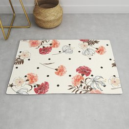 Farmhouse Chic Flower Pattern in Pink Black and White Rug