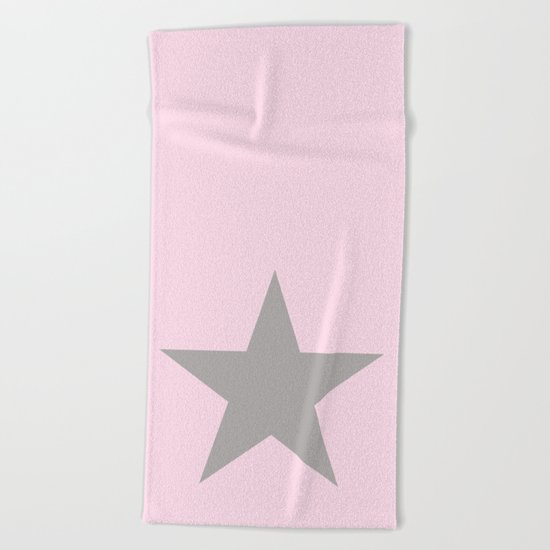 Grey star on pink background Beach Towel