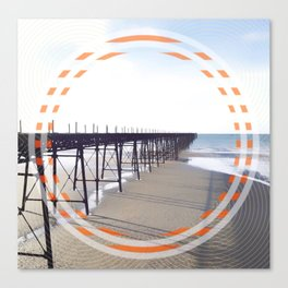 Victorian Pier - orange graphic Canvas Print