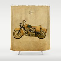apollo Shower Curtains featuring Ducati Apollo 1963 by Larsson Stevensem