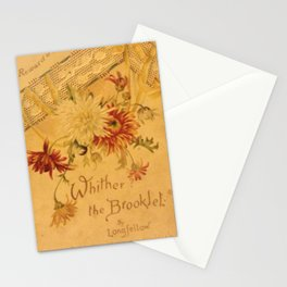 Antique Book Cover for literacy lovers  Floral with ivory and red #longfellow #poetry Stationery Cards