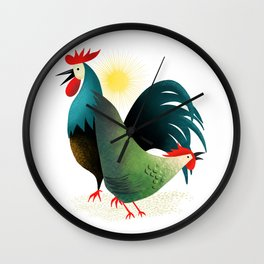 Morning Glory Rooster And Hen Wake Up Call Wall Clock