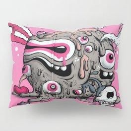 Urban Street Art: Pink Oozing Eye Creature (Buff Monster) Pillow Sham