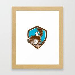 American Bald Eagle Beer Keg Crest Retro Framed Art Print