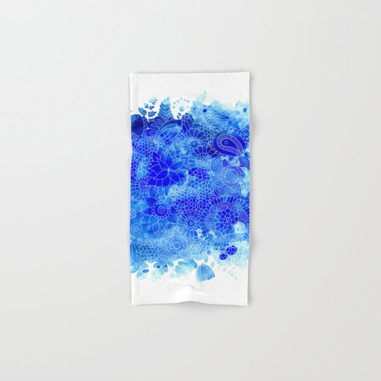 Blue Floral Pattern 02 Hand & Bath Towel