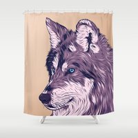 wolf Shower Curtains featuring Blue eyed wolf by Roland Banrevi