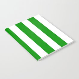 Islamic green - solid color - white vertical lines pattern Notebook