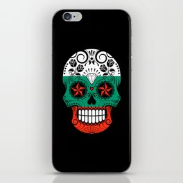 Sugar Skull with Roses and Flag of Bulgaria iPhone Skin