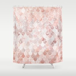 Mermaid Scales Pattern, Blush Pink and Rose Gold Shower Curtain