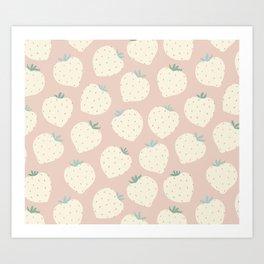 Flat Natural Strawberries  Art Print