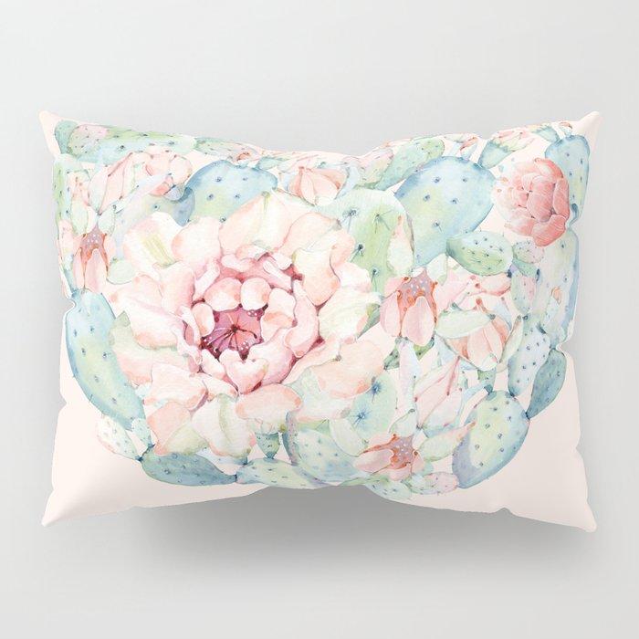 Cactus Rose Heart on Pink Pillow Sham