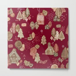 Hansel and Gretel Fairy Tale Gingerbread Pattern Metal Print